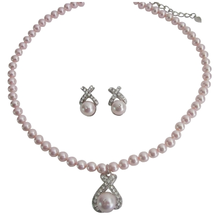 Fashion Jewelry Offer Pink Pearls Necklace Earrings Set