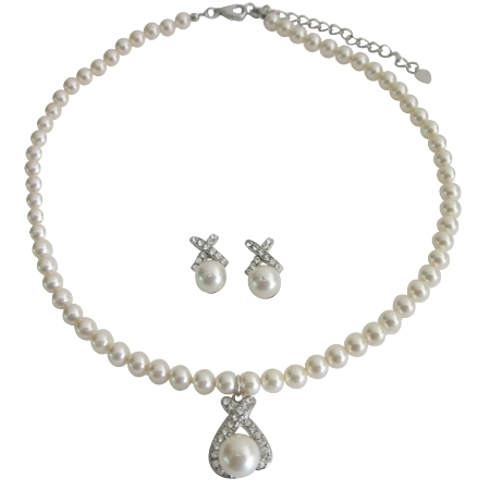 Designer Sophisticated Bridal Ivory Pendant Necklace Earrings Set