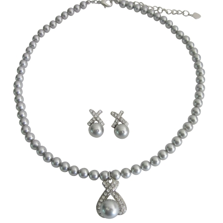 Grey Pearls Collection Customize Wedding Jewelry Necklace Earrings