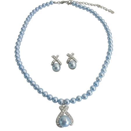 Pearls Necklace Earrings w/ Blue Pendant Mother Gift