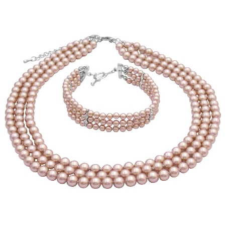 Handmade Pearls Champagne Three Stranded Bracelet & Necklace