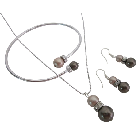 Jewelry for your Cinnamon Mocha Dress Champagne & Brown Pearl
