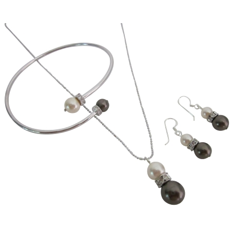 Pretty Jewelry Exclusive Combo Ivory & Chocolate Pearls Complete Set