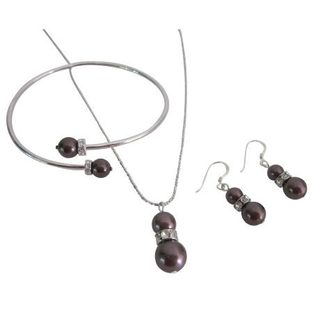 Alluring Burgundy Pearls Prom Jewelry Necklace Earrings Set