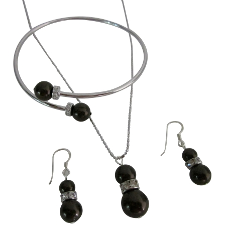 FashionJewelryForEveryone.com Dead Chocolate Pearl Pendant Earrings Set With Rhinestones Rings Spacer at Sears.com