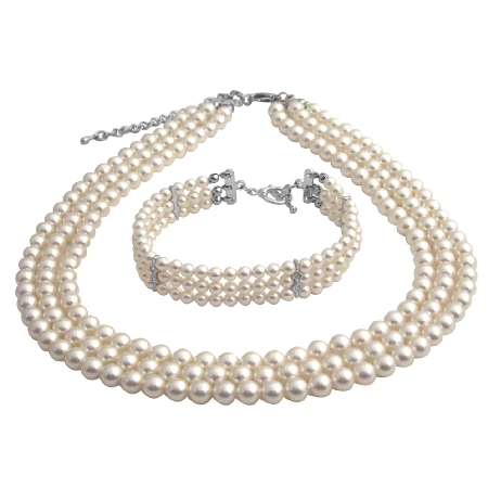 Customize Own Style Bridal Party White Pearls Three Stranded Necklace