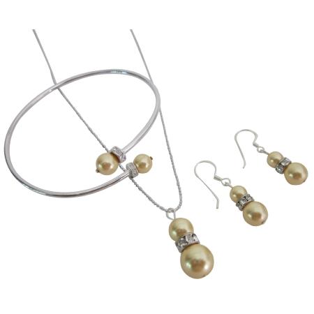 Gold Pearls Jewelry Necklace Earrings Bracelet Prom Jewelry