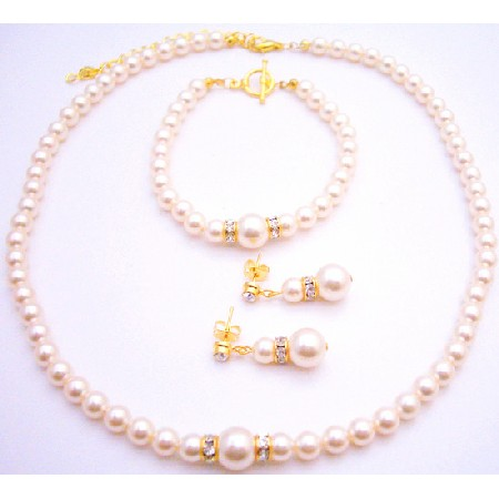 My True Love Chic Pearls Necklace Earrings Bracelet Gold Set