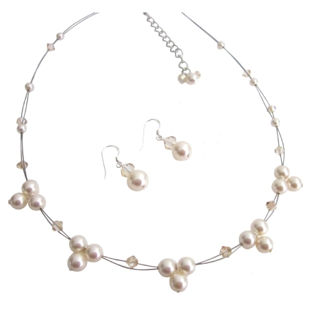 Incredible Wedding Jewelry Ivory Pearls Golden Shadow Crystals