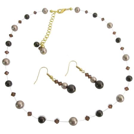 Elegant Bridal Jewelry Combo Brown & Bronze Pearls Set