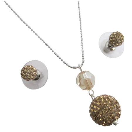 Dazzle The Masses w/ Original Colorado Pave Ball Pendant Stud Earrings