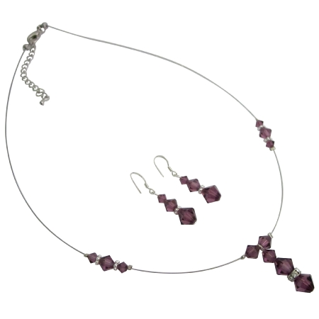 Prom Jewelry Amethyst Crystals Necklace Earrings
