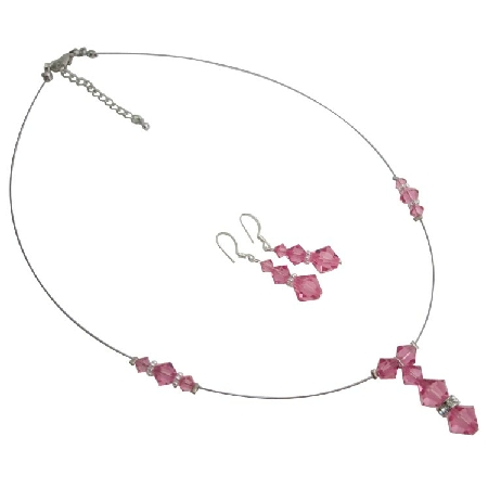 Rose Swarovski Crystals Jewelry Set Pink Necklace Set