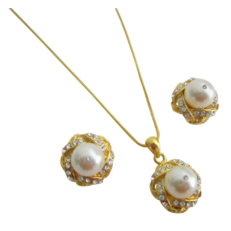 Exquisite Cream Pearls Adorned High Gold Accessories Necklace Earrings from fashionjewelryforeveryone.com