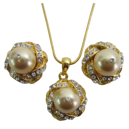 Prom Evening Eelegant Jewelry Gold Pearls Necklace Earrings Set
