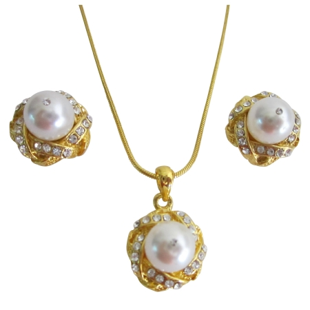 Superior White Pearls Necklace Earrings Set Adorned Gold Pendant