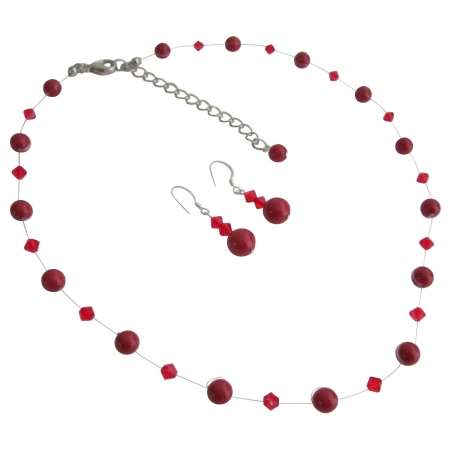 Red Pearls & Glistening Red Crystal Prom Or Semi Formal Jewelry Set