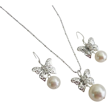 Shop For Butterfly Pendant w/ Ivory Pearls Necklace Earrings Set