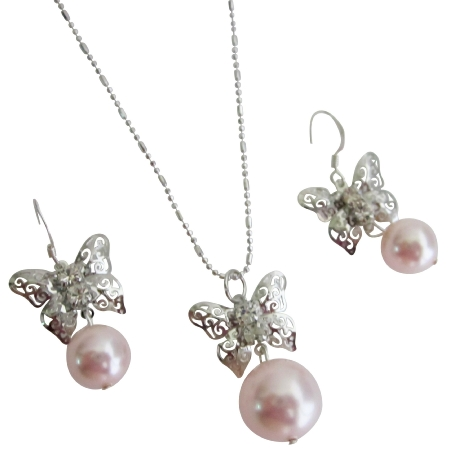 Prom Jewelry Sparkling Pink Pearl Butterfly Diamante Jewelry Set