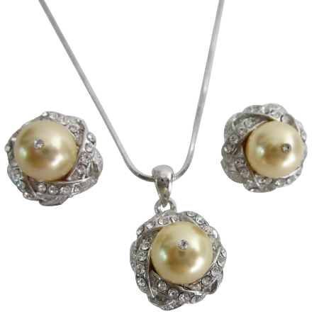 Pearls Necklace Set Light Gold Low Price Wedding Jewelry