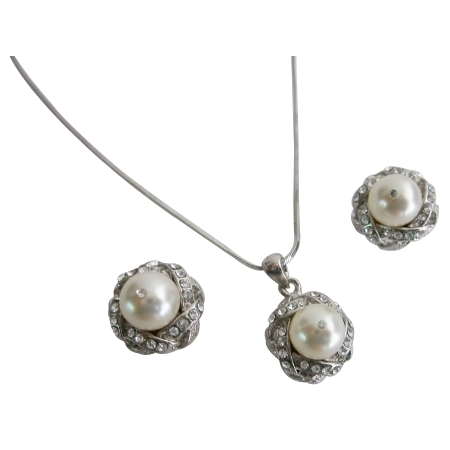 Ivory Pearl Rhinestones Pendant Bridesmaid Gift Bridal Necklace Set