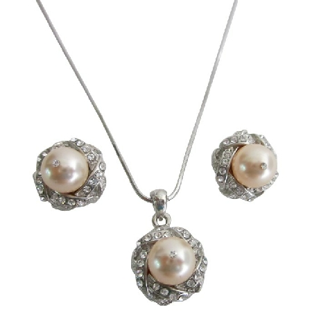 Bridal Bridesmaid Jewelry Peach Color Pendant Necklace Earrings Set