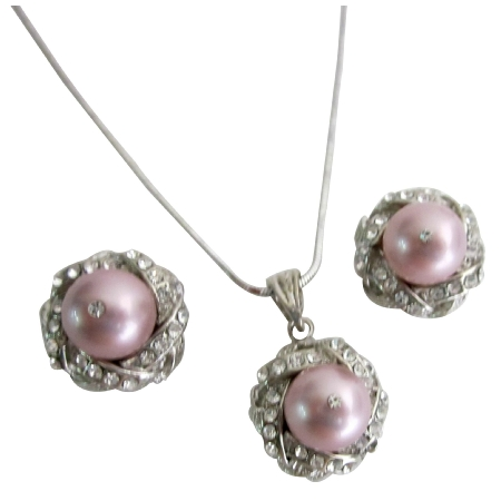 Swarovski Powder Rose Antique Pink Pearls Necklace and Earring Set