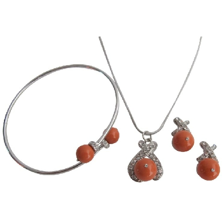 Fall Color Orange Pearls Coral Pearls Set with Bracelet