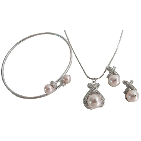 Swarovski Rose Pearl Inexpensive Pendant Necklace Earring Cuff Bracelet