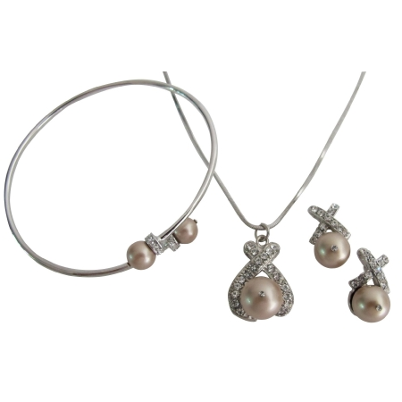 Holiday Gift Champagne Pearls Elegant Complete Jewelry Set