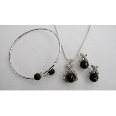 Prom Jewelry Black Pearls Pendant Necklace Earring Cuff Bracelet