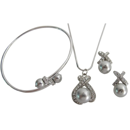 Prom Jewelry Silver Gray Pearl Pendant Necklace Earring Cuff Bracelet