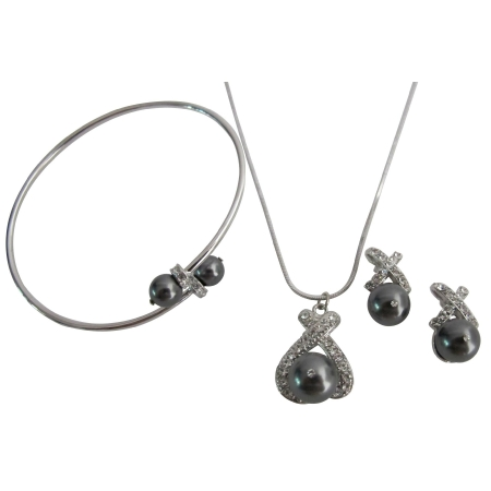 Bridesmaid Jewelry in Dark Gray Pearl Necklace Earring Cuff Bracelet
