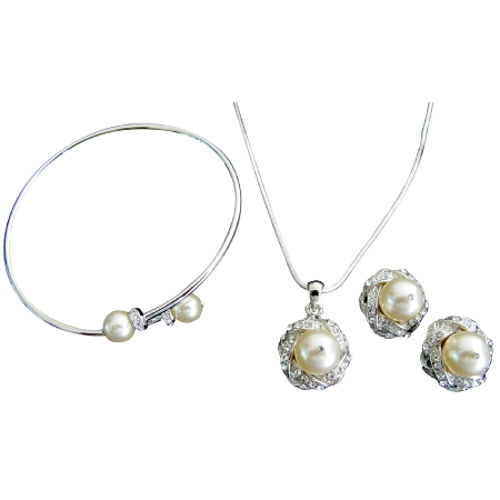 Affordable Bridal Complete Jewelry Ivory Necklace Earring Bracelet