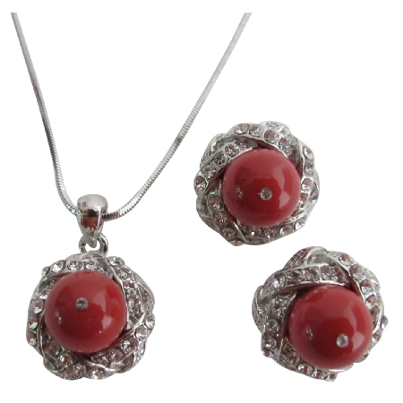 Wedding Wear Jewelry Wine Color Necklace Earrings Set