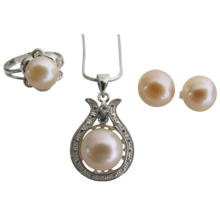 Gift Peach Freshwater Pearl Pendant Necklace Stud Earrings & Ring