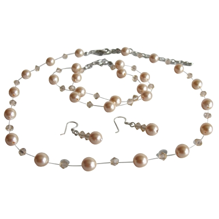 Peach Pearl & Crystal Necklace Earrings Bracelet Set