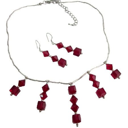 Bridal Jewelry Wedding Garnet Crystals Bridal Necklace Set Handmade