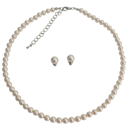 Elegant Sophisticated Ivory Pearl Necklace with Stud Earrings Set
