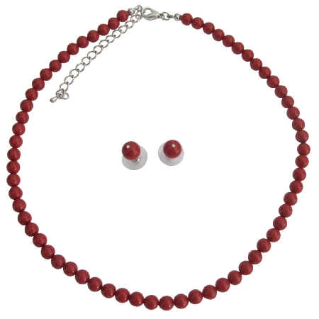 Handmade Swarovski Red Pearls For Both Brides & Bridesmaid Jewelry
