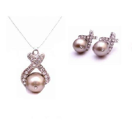 Affordable Jewelry Excellent Platinum Champagne Necklace Set