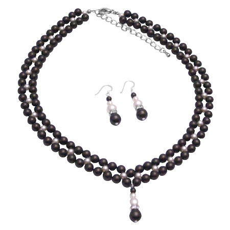 Special Occasion Party Jewelry Darkest Chocolate Ivory Pearls Set