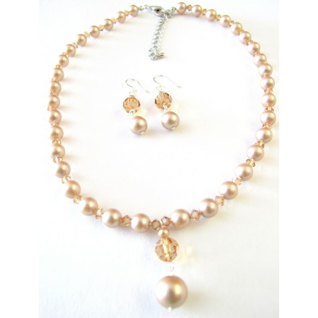 Custom Champage Pearls Colorado Crystals Cute Drop Down Set