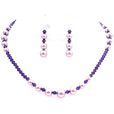 Passion Jewelry Set Mauve Pearls Purple Velvet Crystals Set
