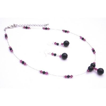 Pretty Wonderful Spectacular Jewelry Black Pearls Fuchsia Crystals Set