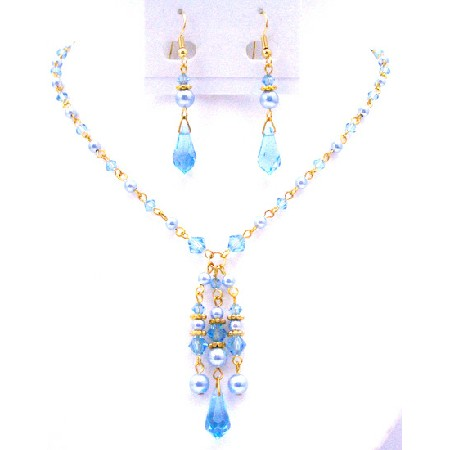 Romantic Gifts 22k Gold Plated Blue Aquamarine Crystals Set