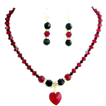 Shop Romantic Jewelry Hottest Item Siam Red & Jet Crystals