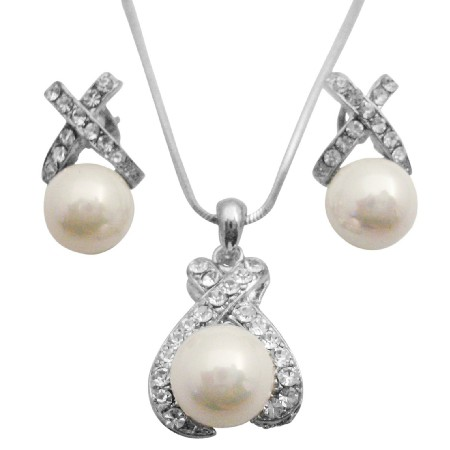 Shell Pearls Pendant Necklace & Earrings Set Perfect Wedding Jewelry