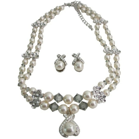 Double Stranded Cream Pearls Crystals Choker Jewelry