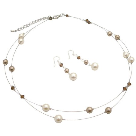 Jewelry To Match with Cream & Mocha Cream Bronze Brown Crystal Set
